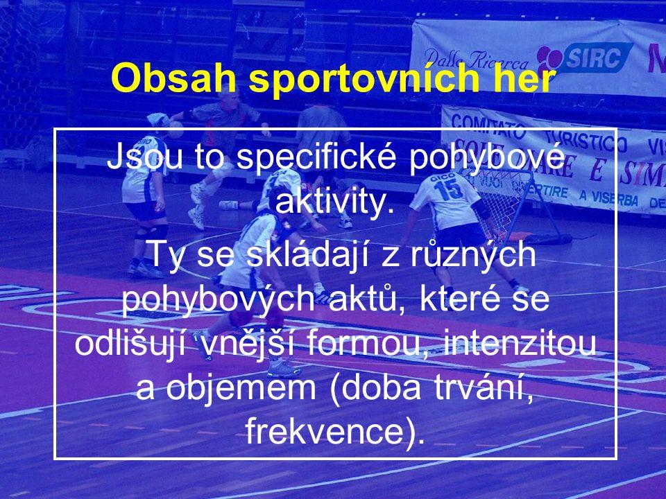 Obsah sportovních her Jsou to specifické pohybové aktivity. Ty se skládají z různých pohybových aktů, které se odlišují vnější formou, intenzitou a ob