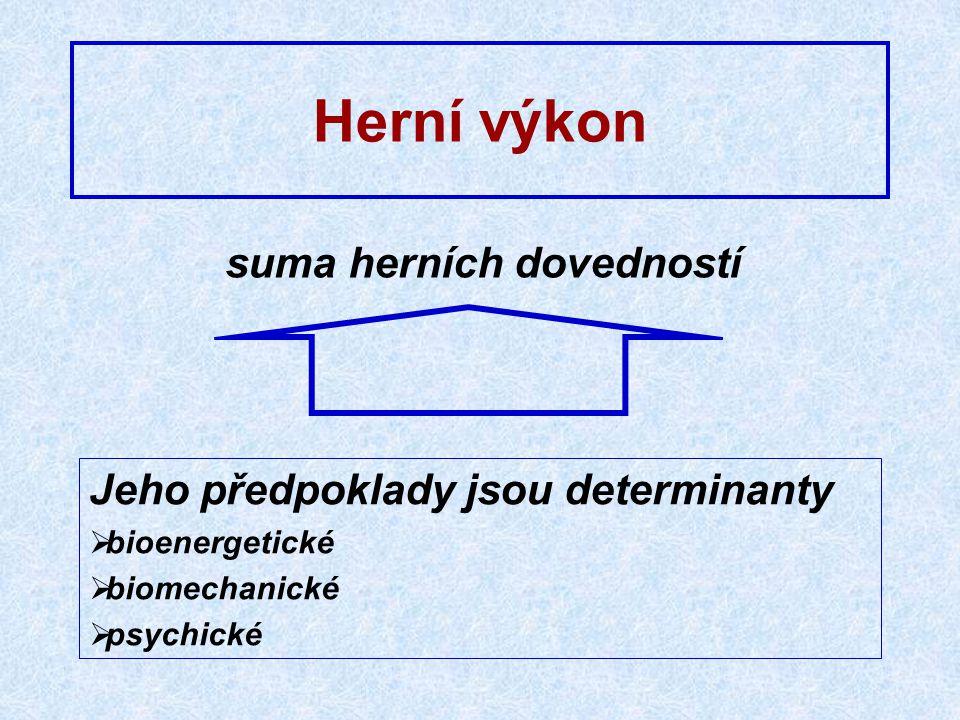 suma herních dovedností Jeho předpoklady jsou determinanty  bioenergetické  biomechanické  psychické