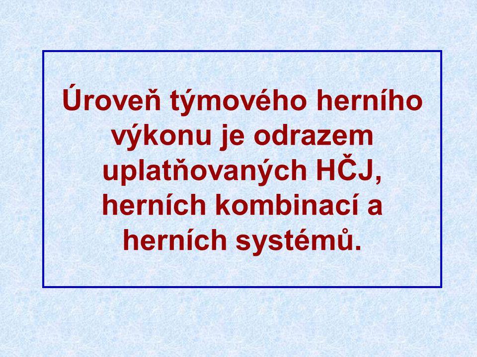 Úroveň týmového herního výkonu je odrazem uplatňovaných HČJ, herních kombinací a herních systémů.