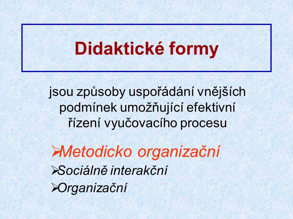Didaktické formy jsou způsoby uspořádání vnějších podmínek umožňující efektivní řízení vyučovacího procesu  Metodicko organizační  Sociálně interakční  Organizační