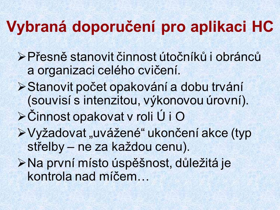 Vybraná doporučení pro aplikaci HC  Přesně stanovit činnost útočníků i obránců a organizaci celého cvičení.