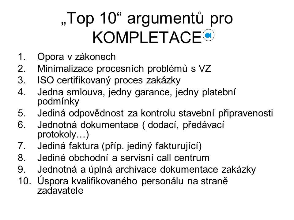 """""""Top 10"""" argumentů pro KOMPLETACE 1.Opora v zákonech 2.Minimalizace procesních problémů s VZ 3.ISO certifikovaný proces zakázky 4.Jedna smlouva, jedny"""