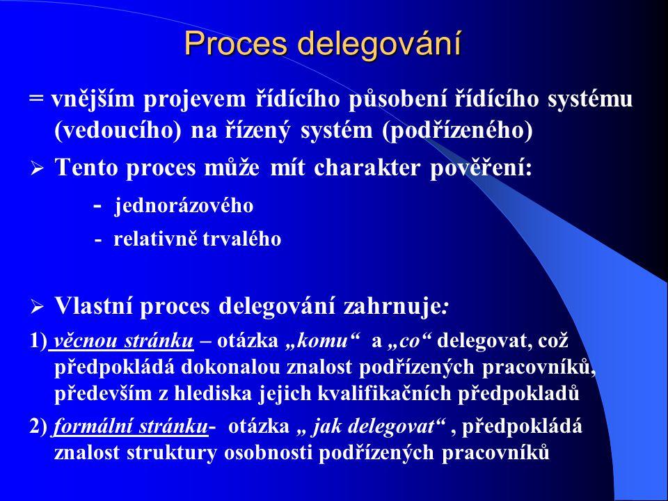 """Proces delegování = vnějším projevem řídícího působení řídícího systému (vedoucího) na řízený systém (podřízeného)  Tento proces může mít charakter pověření: - jednorázového - relativně trvalého  Vlastní proces delegování zahrnuje: 1) věcnou stránku – otázka """"komu a """"co delegovat, což předpokládá dokonalou znalost podřízených pracovníků, především z hlediska jejich kvalifikačních předpokladů 2) formální stránku- otázka """" jak delegovat , předpokládá znalost struktury osobnosti podřízených pracovníků"""