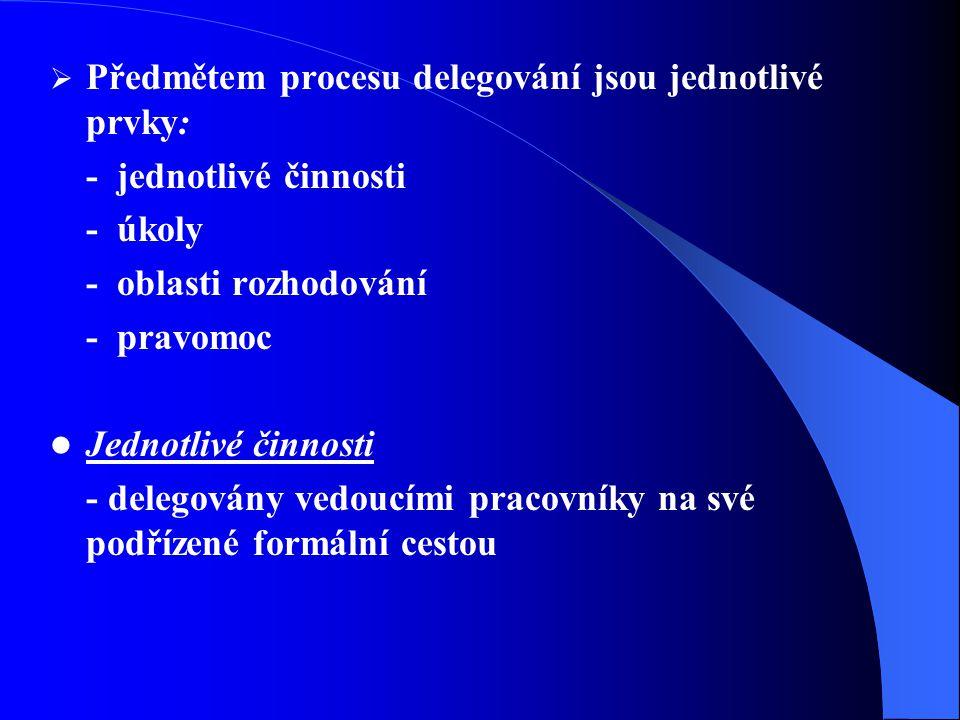  Předmětem procesu delegování jsou jednotlivé prvky: - jednotlivé činnosti - úkoly - oblasti rozhodování - pravomoc Jednotlivé činnosti - delegovány vedoucími pracovníky na své podřízené formální cestou