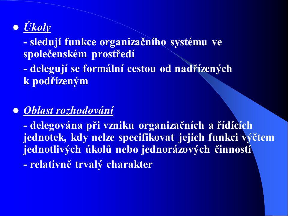 Úkoly - sledují funkce organizačního systému ve společenském prostředí - delegují se formální cestou od nadřízených k podřízeným Oblast rozhodování - delegována při vzniku organizačních a řídících jednotek, kdy nelze specifikovat jejich funkci výčtem jednotlivých úkolů nebo jednorázových činností - relativně trvalý charakter