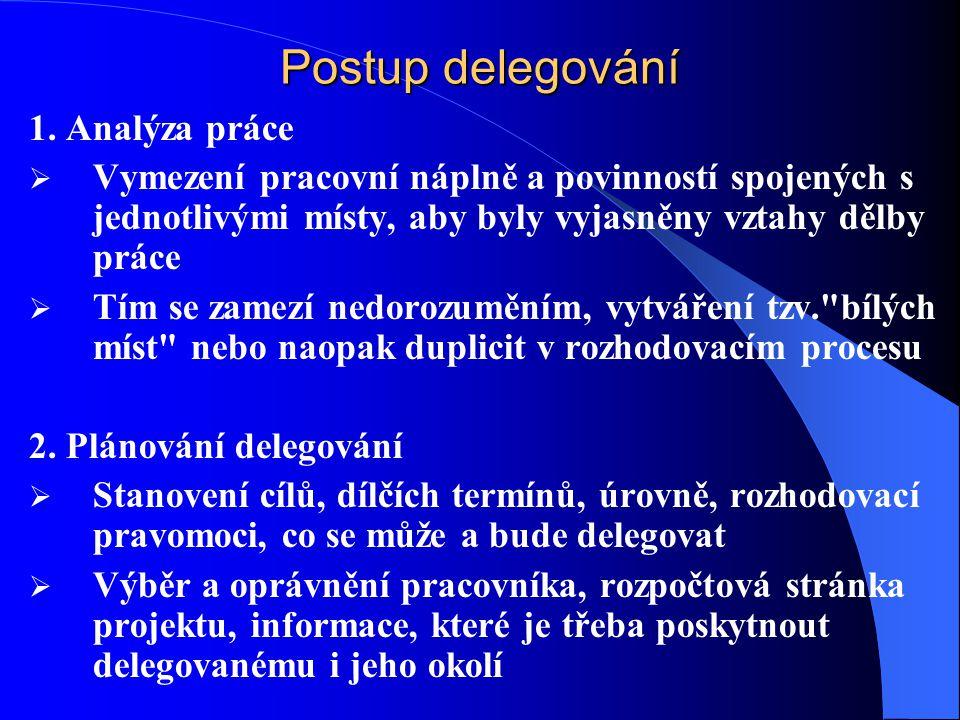 Postup delegování 1.
