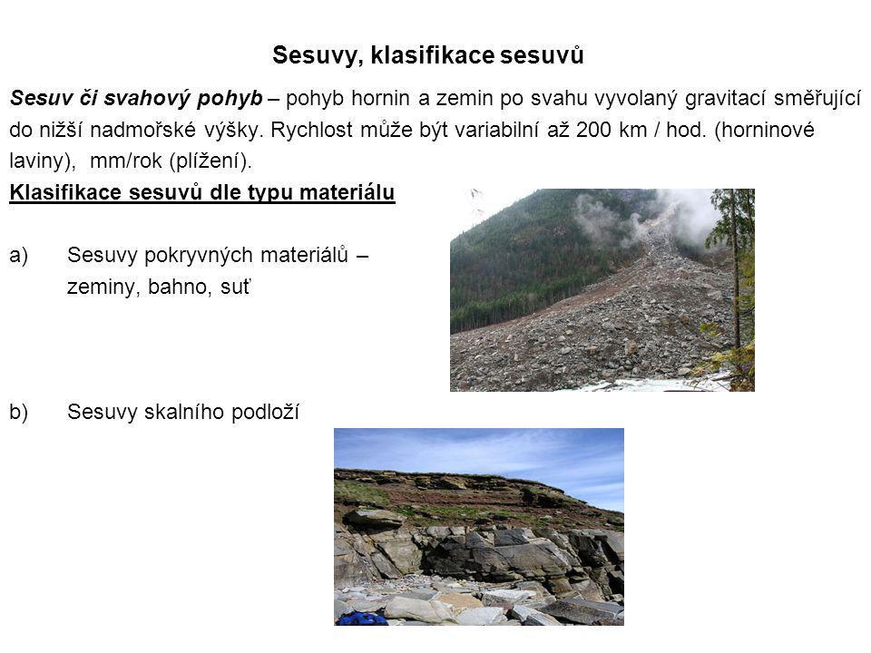 Sesuvy, klasifikace sesuvů Sesuv či svahový pohyb – pohyb hornin a zemin po svahu vyvolaný gravitací směřující do nižší nadmořské výšky. Rychlost může