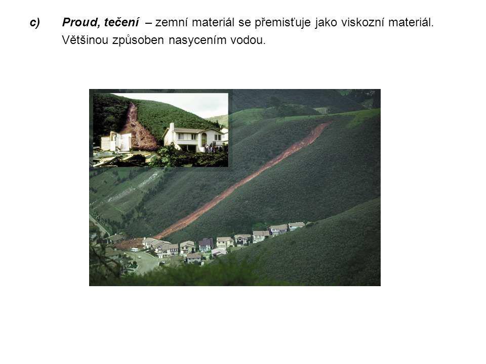 c)Proud, tečení – zemní materiál se přemisťuje jako viskozní materiál. Většinou způsoben nasycením vodou.
