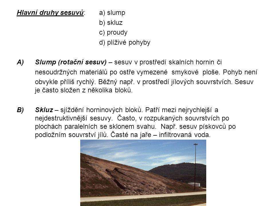 Hlavní druhy sesuvů: a) slump b) skluz c) proudy d) plíživé pohyby A)Slump (rotační sesuv) – sesuv v prostředí skalních hornin či nesoudržných materiá