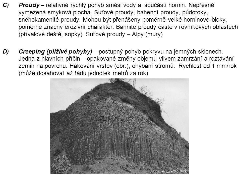 C)Proudy – relativně rychlý pohyb směsi vody a součástí hornin. Nepřesně vymezená smyková plocha. Suťové proudy, bahenní proudy, půdotoky, sněhokameni