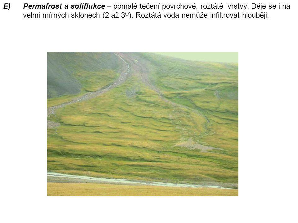 E)Permafrost a soliflukce – pomalé tečení povrchové, roztáté vrstvy. Děje se i na velmi mírných sklonech (2 až 3 O ). Roztátá voda nemůže infiltrovat