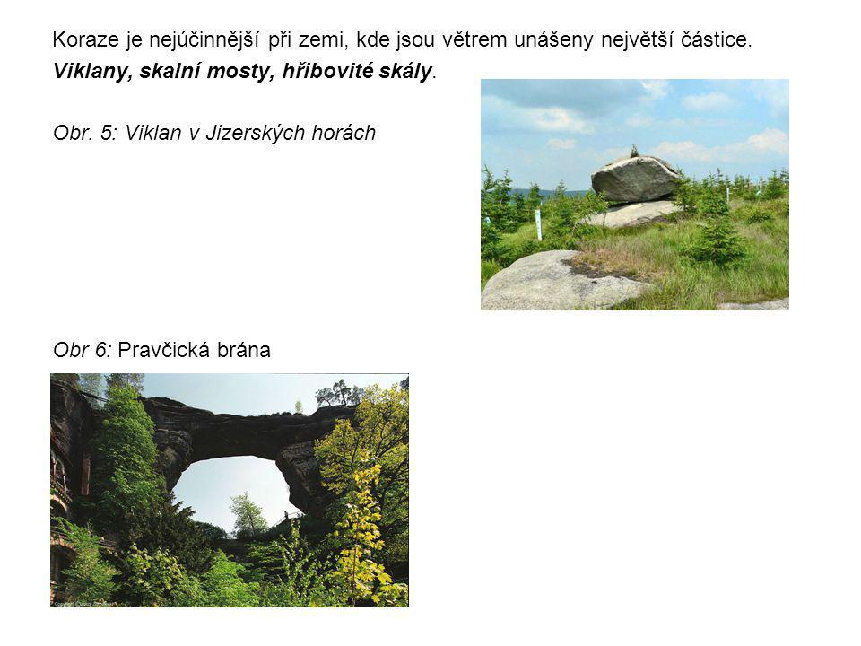 Koraze je nejúčinnější při zemi, kde jsou větrem unášeny největší částice. Viklany, skalní mosty, hřibovité skály. Obr. 5: Viklan v Jizerských horách