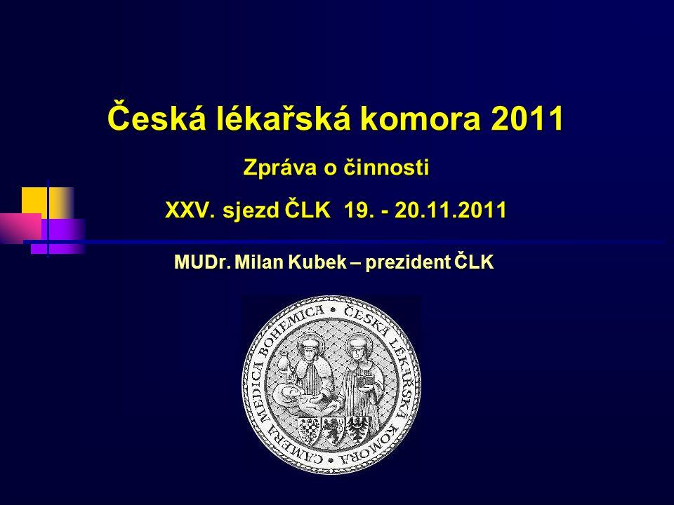 Česká lékařská komora 2011 Zpráva o činnosti XXV.sjezd ČLK 19.