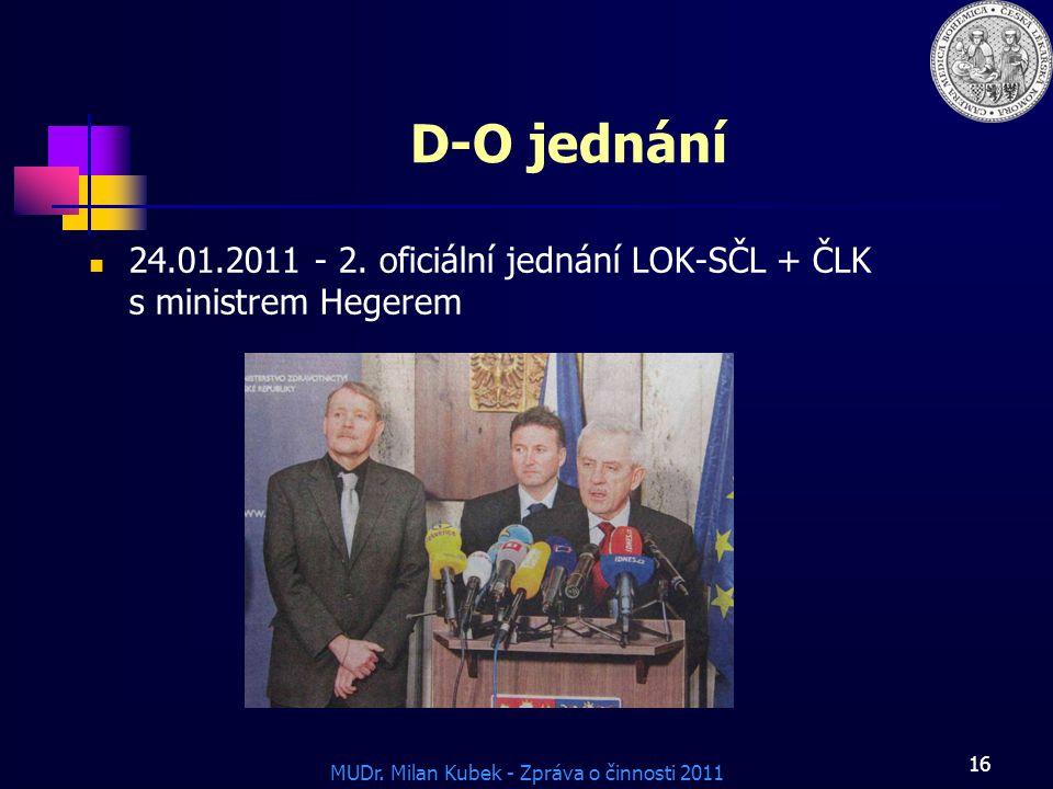 MUDr.Milan Kubek - Zpráva o činnosti 2011 16 D-O jednání 24.01.2011 - 2.