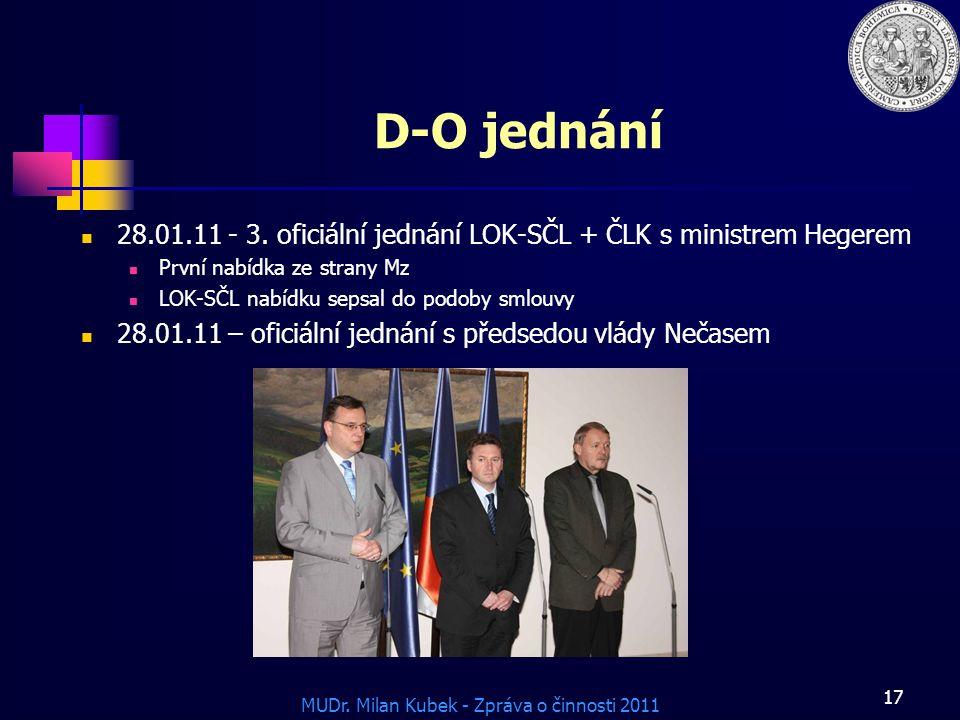 MUDr.Milan Kubek - Zpráva o činnosti 2011 17 D-O jednání 28.01.11 - 3.