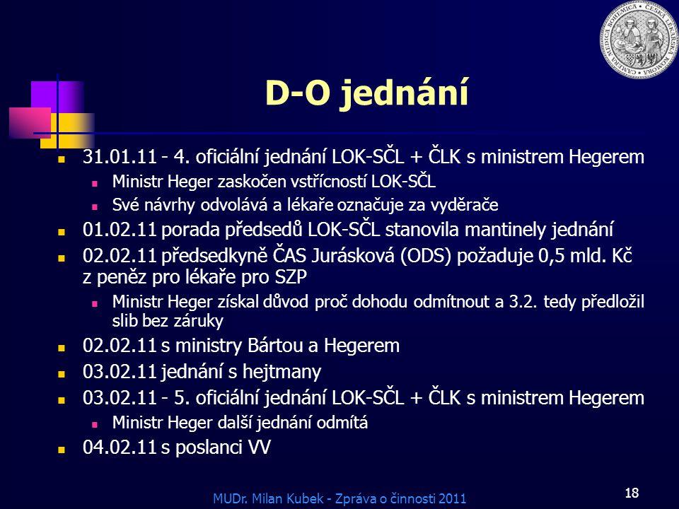 MUDr.Milan Kubek - Zpráva o činnosti 2011 18 D-O jednání 31.01.11 - 4.