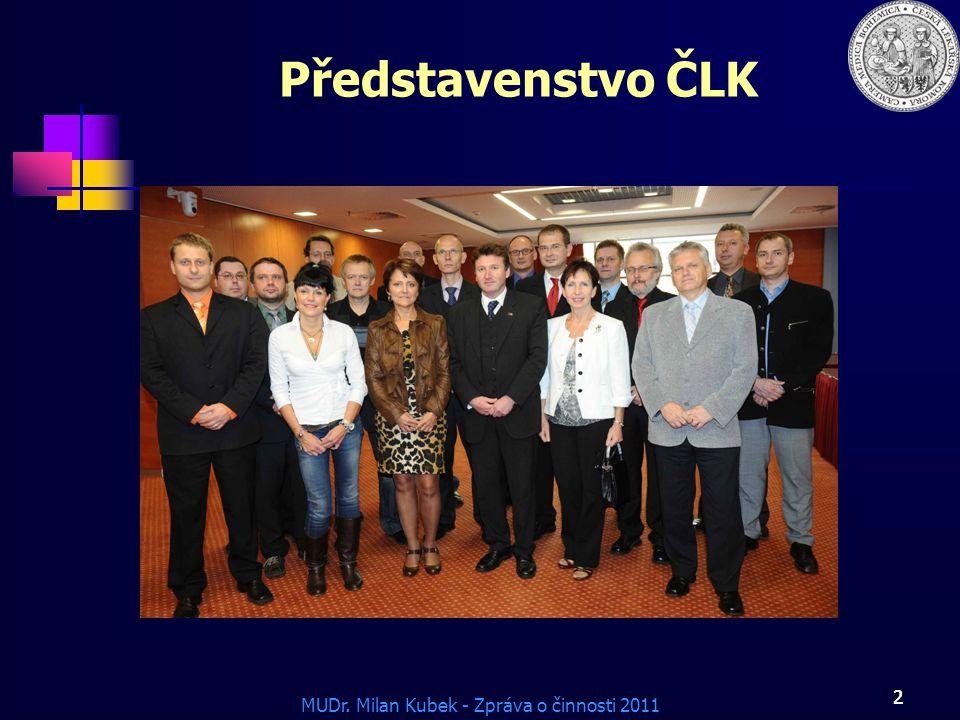 MUDr. Milan Kubek - Zpráva o činnosti 2011 2 Představenstvo ČLK 2