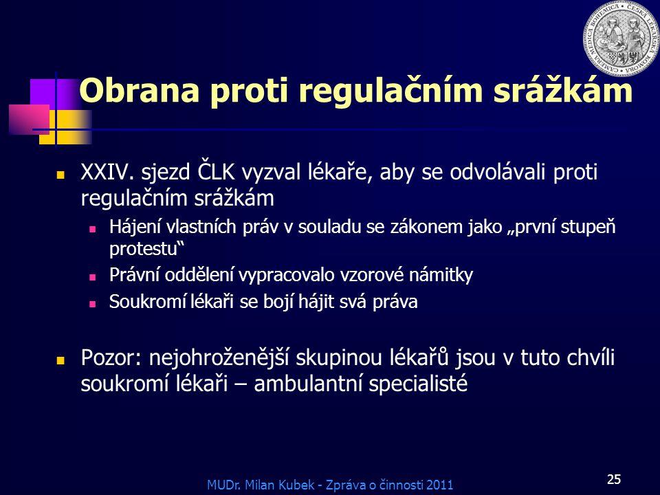MUDr.Milan Kubek - Zpráva o činnosti 2011 25 Obrana proti regulačním srážkám XXIV.