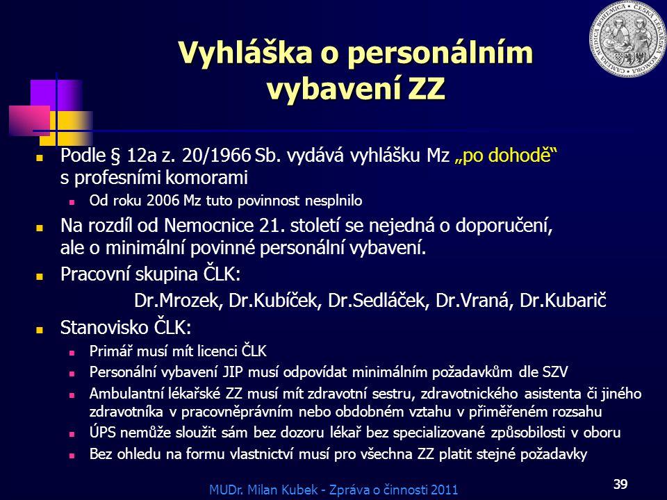 MUDr.Milan Kubek - Zpráva o činnosti 2011 39 Vyhláška o personálním vybavení ZZ Podle § 12a z.