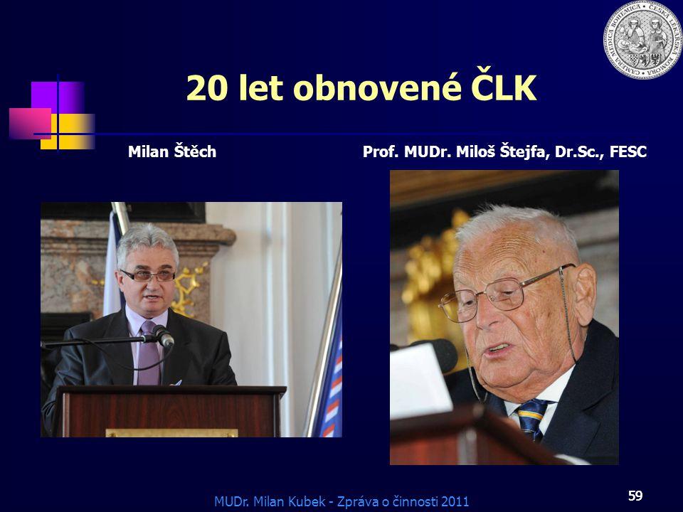 MUDr.Milan Kubek - Zpráva o činnosti 2011 59 20 let obnovené ČLK Milan ŠtěchProf.