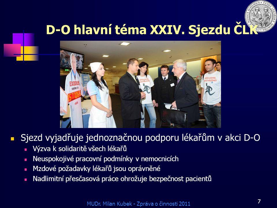 MUDr.Milan Kubek - Zpráva o činnosti 2011 7 D-O hlavní téma XXIV.
