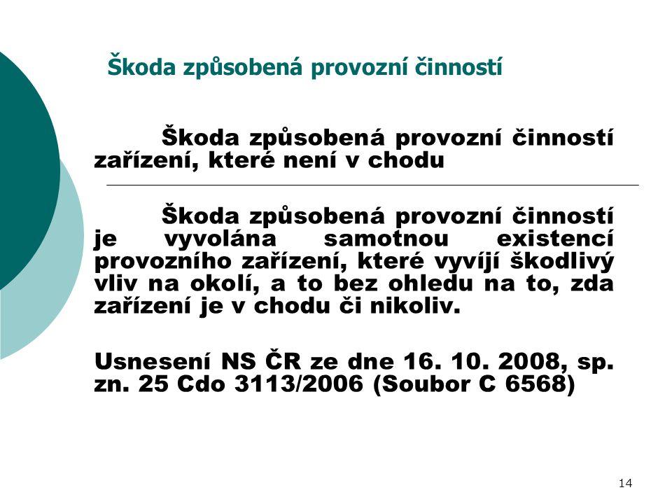 14 Škoda způsobená provozní činností Škoda způsobená provozní činností zařízení, které není v chodu Škoda způsobená provozní činností je vyvolána samo