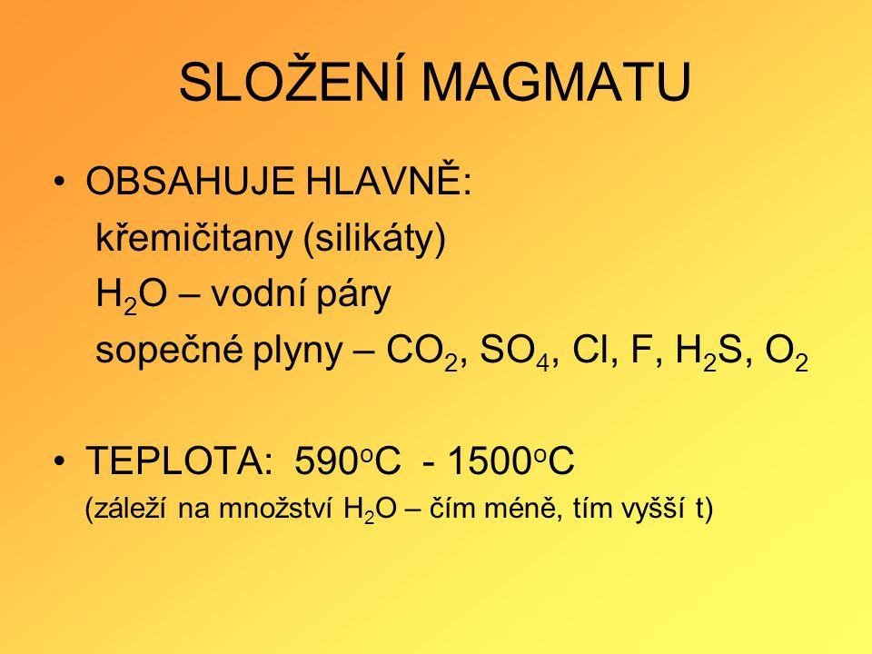 SLOŽENÍ MAGMATU OBSAHUJE HLAVNĚ: křemičitany (silikáty) H 2 O – vodní páry sopečné plyny – CO 2, SO 4, Cl, F, H 2 S, O 2 TEPLOTA: 590 o C - 1500 o C (