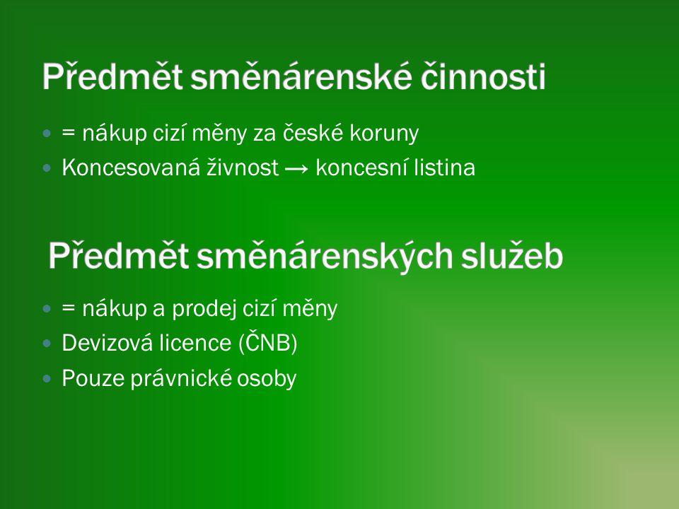 = nákup cizí měny za české koruny Koncesovaná živnost → koncesní listina = nákup a prodej cizí měny Devizová licence (ČNB) Pouze právnické osoby