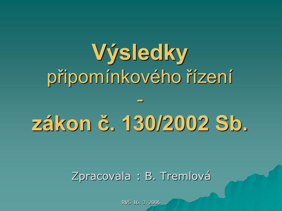 RVŠ 16. 3. 2006 Výsledky připomínkového řízení - zákon č. 130/2002 Sb. Zpracovala : B. Tremlová