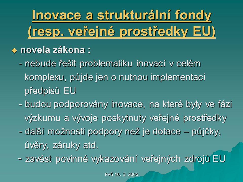 RVŠ 16. 3. 2006 Inovace a strukturální fondy (resp.