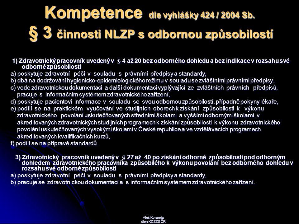Kompetence dle vyhlášky 424 / 2004 Sb. § 3 činnosti NLZP s odbornou způsobilostí 1) Zdravotnický pracovník uvedený v § 4 až 20 bez odborného dohledu a