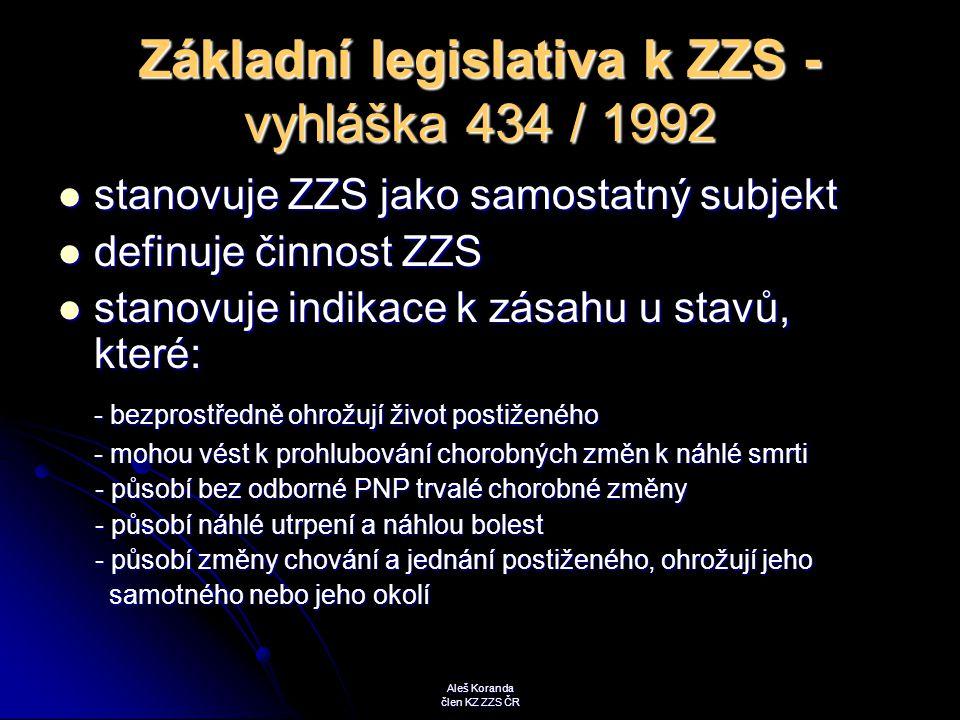 Základní legislativa k ZZS - vyhláška 434 / 1992 stanovuje ZZS jako samostatný subjekt stanovuje ZZS jako samostatný subjekt definuje činnost ZZS defi