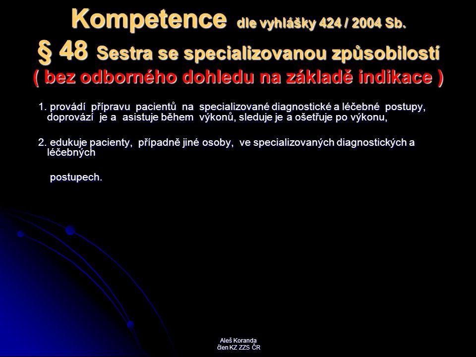 Kompetence dle vyhlášky 424 / 2004 Sb. § 48 Sestra se specializovanou způsobilostí ( bez odborného dohledu na základě indikace ) 1. provádí přípravu p