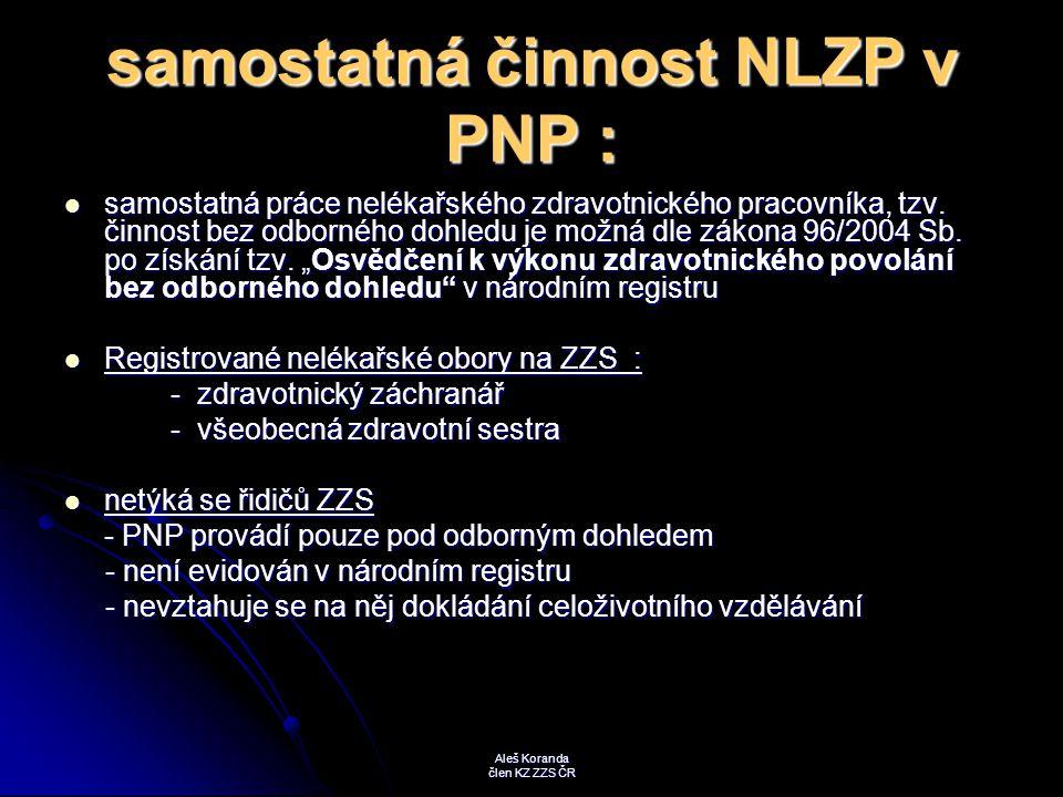 samostatná činnost NLZP v PNP : samostatná práce nelékařského zdravotnického pracovníka, tzv. činnost bez odborného dohledu je možná dle zákona 96/200