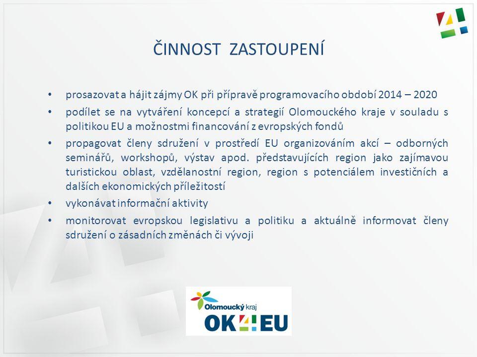 ČINNOST ZASTOUPENÍ prosazovat a hájit zájmy OK při přípravě programovacího období 2014 – 2020 podílet se na vytváření koncepcí a strategií Olomouckého kraje v souladu s politikou EU a možnostmi financování z evropských fondů propagovat členy sdružení v prostředí EU organizováním akcí – odborných seminářů, workshopů, výstav apod.