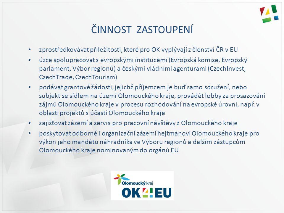 ČINNOST ZASTOUPENÍ zprostředkovávat příležitosti, které pro OK vyplývají z členství ČR v EU úzce spolupracovat s evropskými institucemi (Evropská komise, Evropský parlament, Výbor regionů) a českými vládními agenturami (CzechInvest, CzechTrade, CzechTourism) podávat grantové žádosti, jejichž příjemcem je buď samo sdružení, nebo subjekt se sídlem na území Olomouckého kraje, provádět lobby za prosazování zájmů Olomouckého kraje v procesu rozhodování na evropské úrovni, např.