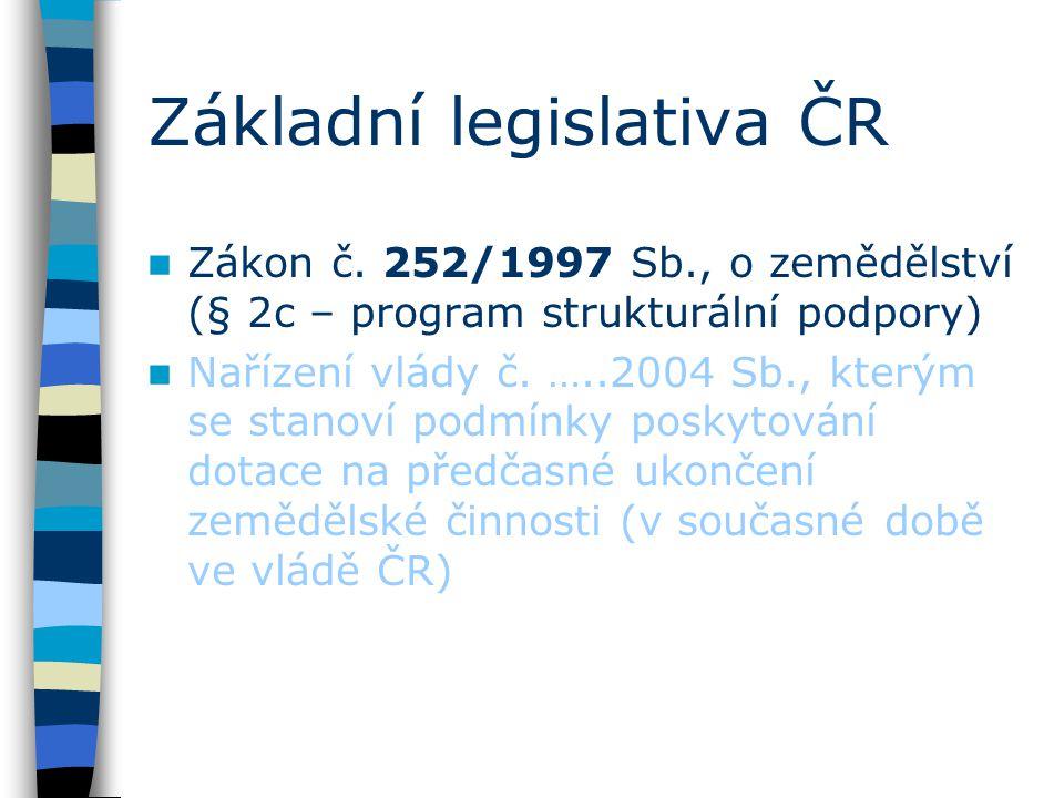 Základní legislativa ČR Zákon č. 252/1997 Sb., o zemědělství (§ 2c – program strukturální podpory) Nařízení vlády č. …..2004 Sb., kterým se stanoví po