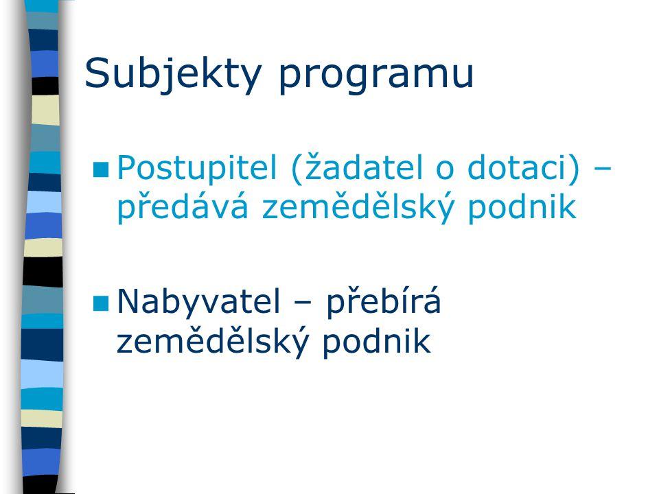 Subjekty programu Postupitel (žadatel o dotaci) – předává zemědělský podnik Nabyvatel – přebírá zemědělský podnik