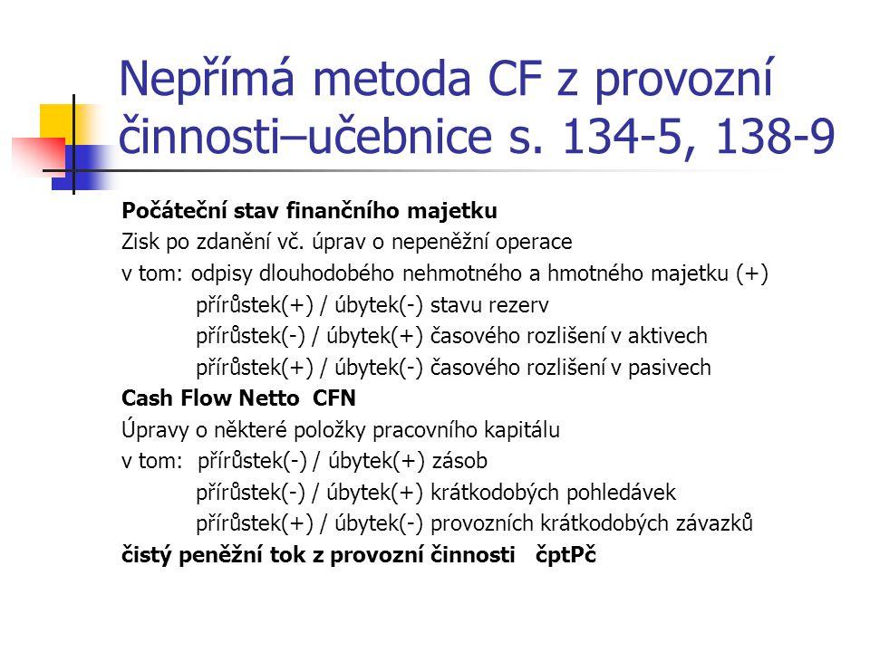 Nepřímá metoda CF z provozní činnosti–učebnice s.