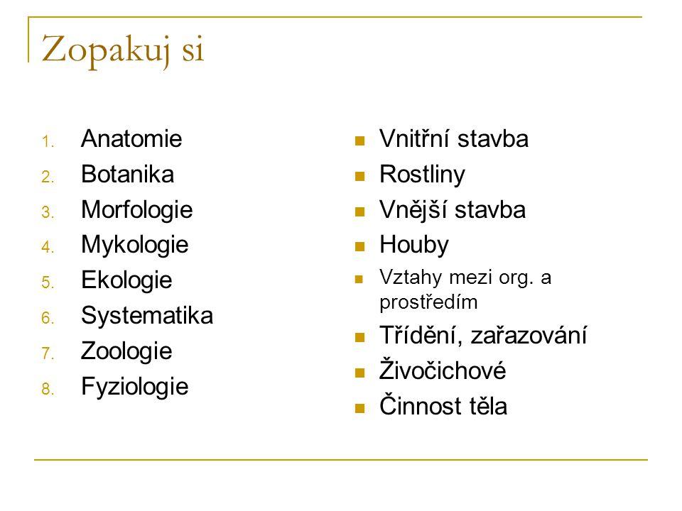 Zopakuj si 1. Anatomie 2. Botanika 3. Morfologie 4. Mykologie 5. Ekologie 6. Systematika 7. Zoologie 8. Fyziologie Vnitřní stavba Rostliny Vnější stav
