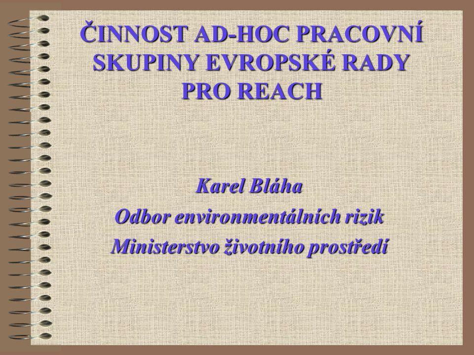 ČINNOST AD-HOC PRACOVNÍ SKUPINY EVROPSKÉ RADY PRO REACH Karel Bláha Odbor environmentálních rizik Ministerstvo životního prostředí