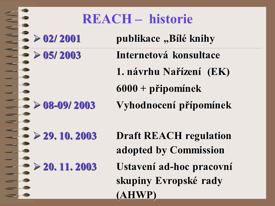 """REACH – historie  02/ 2001 publikace """"Bílé knihy  05/ 2003 Internetová konsultace 1."""