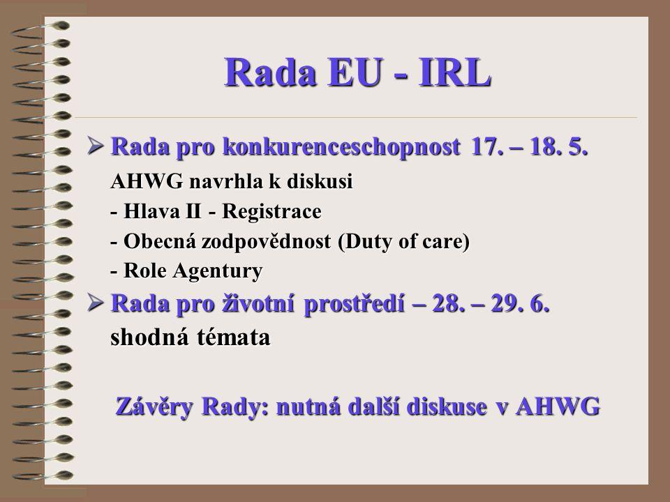 Rada EU - IRL  Rada pro konkurenceschopnost 17. – 18. 5. AHWG navrhla k diskusi - Hlava II - Registrace - Obecná zodpovědnost (Duty of care) - Role A