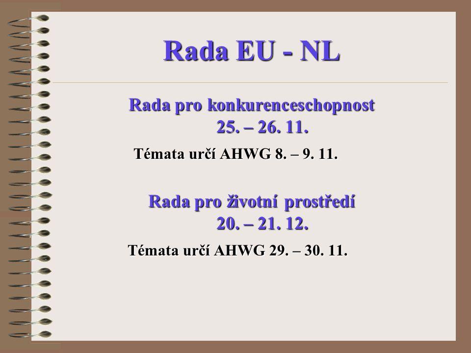 Rada EU - NL Rada pro konkurenceschopnost 25. – 26. 11. 25. – 26. 11. Témata určí AHWG 8. – 9. 11. Rada pro životní prostředí 20. – 21. 12. 20. – 21.
