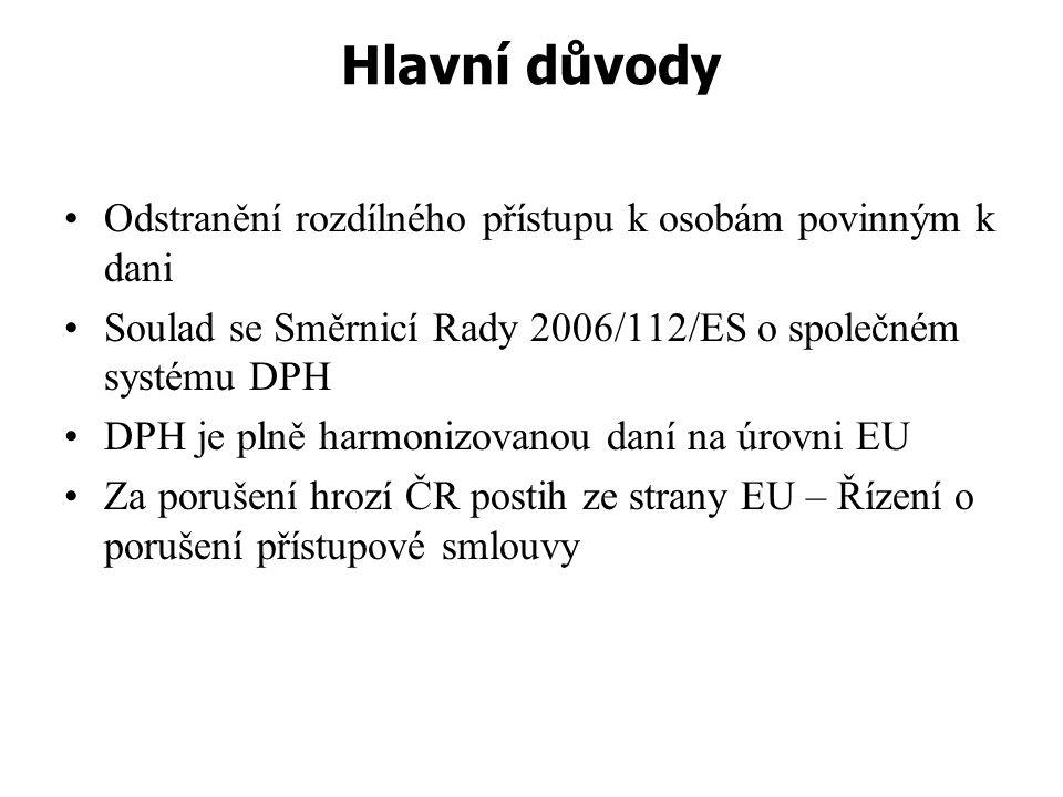 Hlavní důvody Odstranění rozdílného přístupu k osobám povinným k dani Soulad se Směrnicí Rady 2006/112/ES o společném systému DPH DPH je plně harmoniz