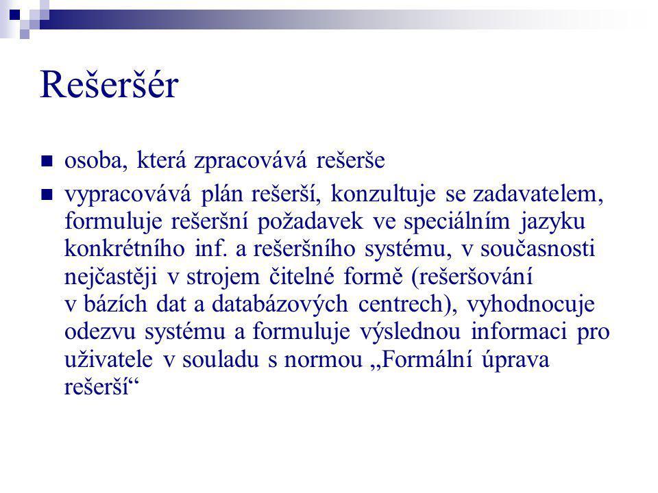 Rešeršér osoba, která zpracovává rešerše vypracovává plán rešerší, konzultuje se zadavatelem, formuluje rešeršní požadavek ve speciálním jazyku konkré