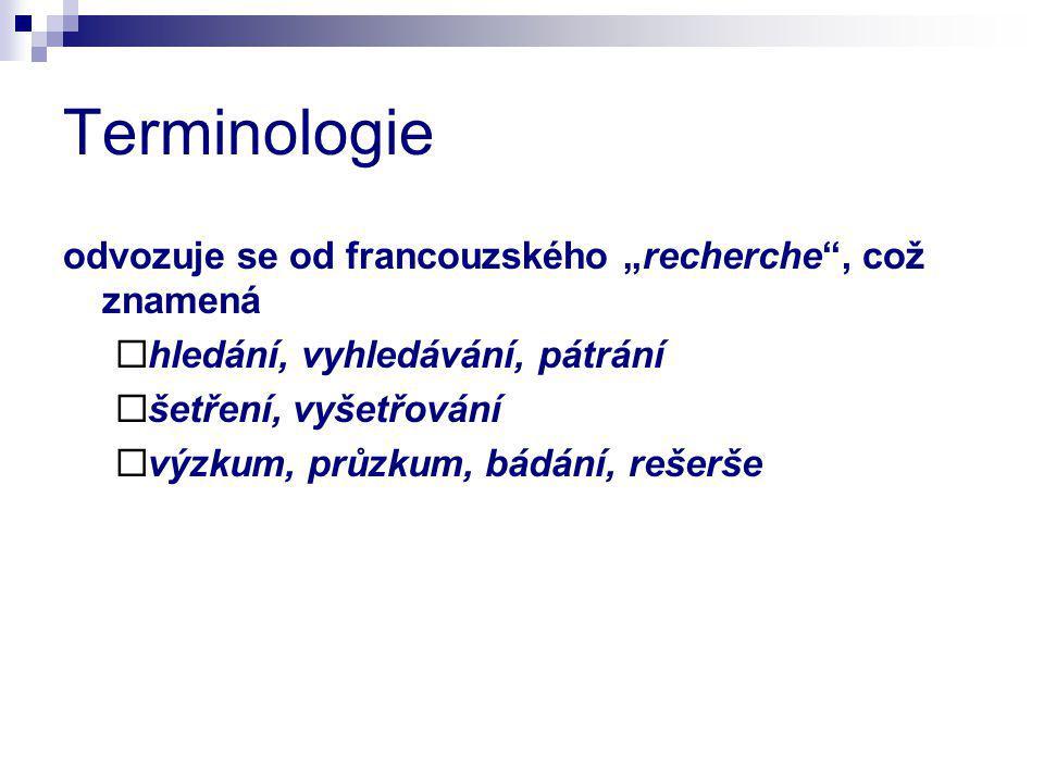 """Terminologie odvozuje se od francouzského """"recherche"""", což znamená  hledání, vyhledávání, pátrání  šetření, vyšetřování  výzkum, průzkum, bádání, r"""