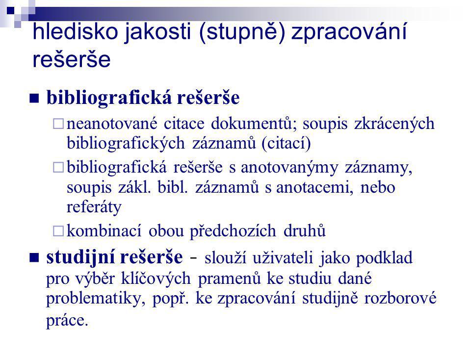 hledisko jakosti (stupně) zpracování rešerše bibliografická rešerše  neanotované citace dokumentů; soupis zkrácených bibliografických záznamů (citací
