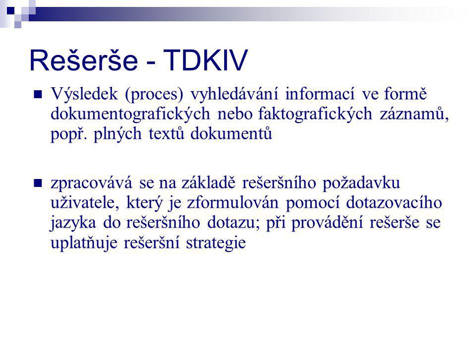 Rešerše - TDKIV Výsledek (proces) vyhledávání informací ve formě dokumentografických nebo faktografických záznamů, popř. plných textů dokumentů zpraco