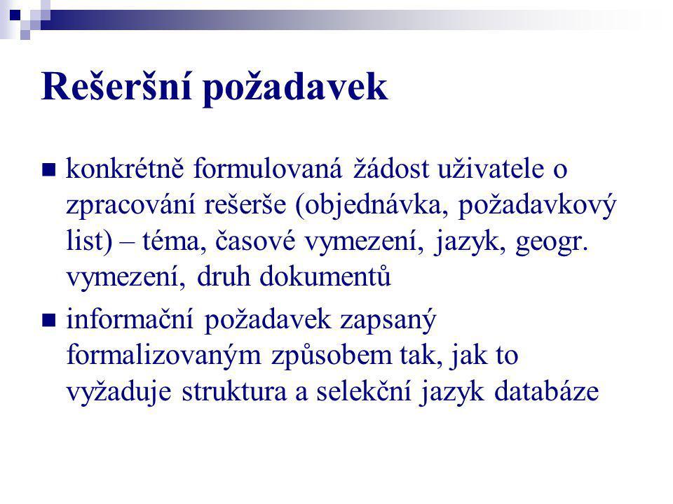 Rešeršní dotaz vyjádření rešeršního požadavku uživatele v příslušném dotazovacím jazyce.
